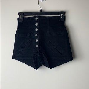 Carmar High Waisted Black Button Up Shorts Size 23